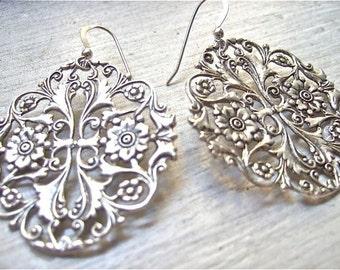 Chandelier earrings silver earrings filigree ANTIQUE