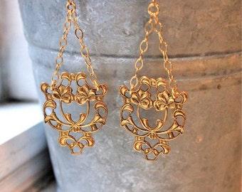 Gold vintage filigree chandelier & chain drop earrings SWING
