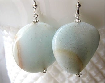 Blue earrings. Drop earrings. Stone jewelry. Blue Amazonite drops. OCEAN WAVE.