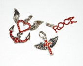 Lot of 3 Red Rhinestone Charms
