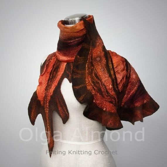 Wool Silk Felted Art nunofelting hand dyed scarf.