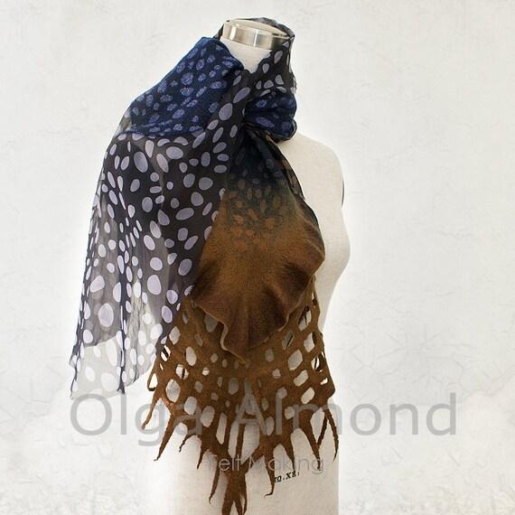 Nuno felted merino wool and silk chiffon scarf.Hand dyed.Polka dots.