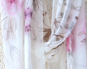 White Silk Crepe De Chine Scarf with Brown & Pink Flowers / Hand painted / French Silk Dye/ Silk Shawl/Made for Custom order