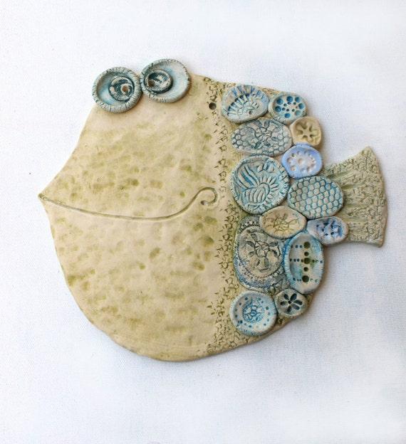 Items similar to handmade ceramic wall decor the fish 2 for Ceramic fish sculpture