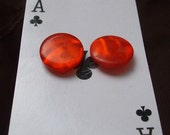 Ruby Red Button Earrings