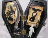 Wooden Coffin with Edgar Allan Poe and Frozen Charlotte Doll (5)