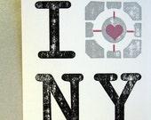 I (Companion Cube) NY gocco postcard