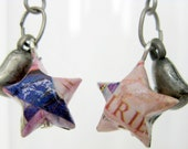 Recycled Origami Lucky Star earrings made from manga, Amano's Fairies