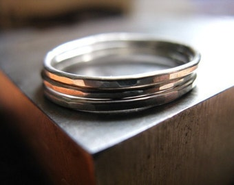 Three Sterling Silver Thinny Stacker Rings