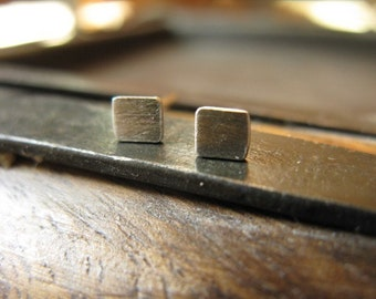 Tiny Square Post Earrings in Sterling Silver 3mm