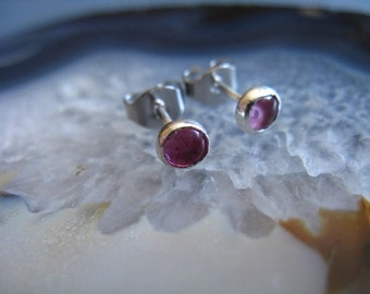 Pink Tourmaline stud Earrings