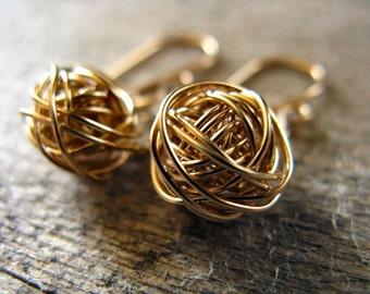 Yarn Ball Earrings 14k Gold Fill