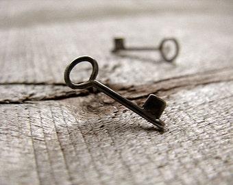 Skeleton Key Stud Earrings Sterling Silver