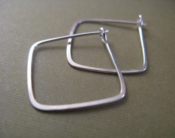 Square Hoop Earrings in Sterling Silver