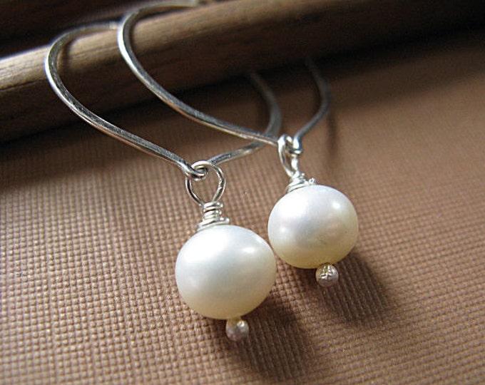 Lotus hoop earrings with freshwater pearl