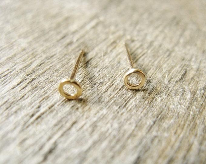 Tiny Post Hoop Earrings in 14k Gold Fill 3mm