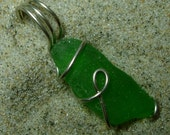 A Little Luck--Green Sea Glass Pendant
