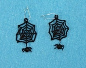 Embroidered Spider-Web Earrings