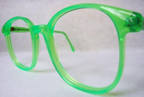 Bright Green Glasses Frames : SALE 80S HIP NEON GREEN VINTAGE EYEGLASSES FRAMES by ...