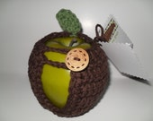 handmade crocheted apple cozy or apple jacket or apple coozie in beautiful chocolate brown with green leaf  eco friendly