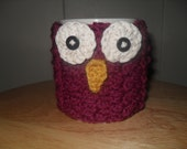 Crocheted owl face mug cozy cup cozy in dark raspberry