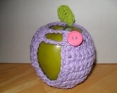 handmade crocheted apple cozy or apple jacket or apple coozie in adorable light purple eco friendly
