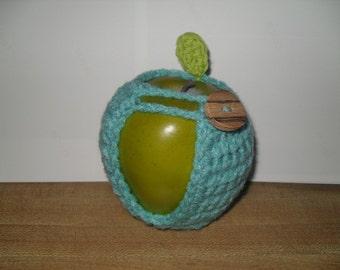 handmade crocheted apple cozy or fruit cozy in aruba sea blue or turquoise