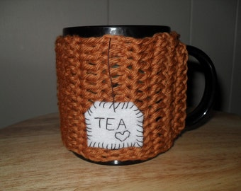 personalize this mug cozy-crocheted tea mug cozy