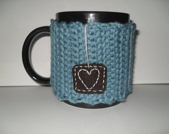 handmade crocheted tea mug cozy or coffee mug cozy in beautiful vintage teal eco friendly cotton yarn