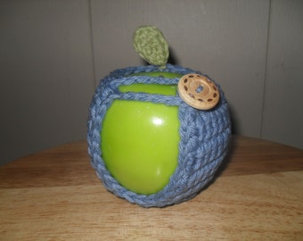 Crocheted apple cozy fruit cozy in denim blue