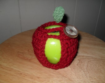 handmade crocheted apple cozy in cranberry