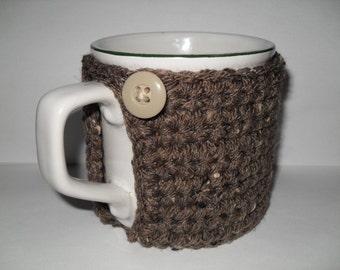crocheted coffee mug cozy or tea cup cozy in barley brown