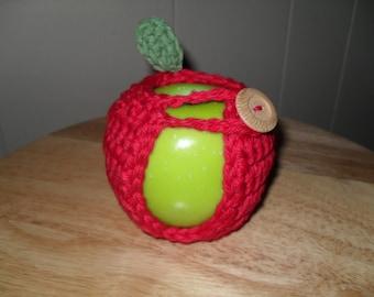 handmade crocheted red apple cozy