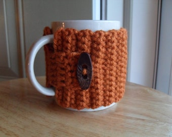 crocheted coffee mug cozy tea mug cozy mug wrap in rust