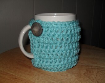 handmade crocheted coffee mug cozy and tea mug cozy in aruba sea blue