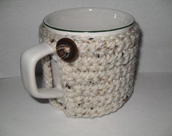 crocheted coffee mug cozy or cup cozy in white mocha chocolate chip