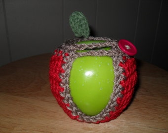 handmade crocheted apple cozy or fruit cozy in red trimmed in taupe