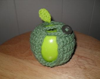 handmade crocheted apple cozy or fruit cozy in sage green