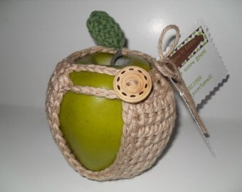 handmade crocheted apple cozy or apple jacket or apple coozie in beautiful taupe color with green leaf eco friendly