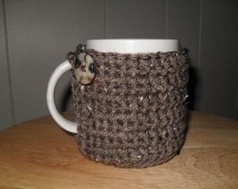 handmade crocheted mug cozy in barley brown