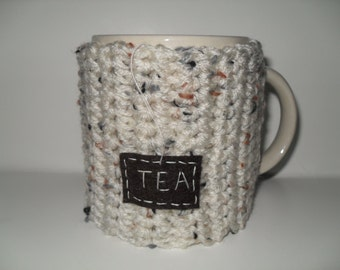 crocheted tea mug cozy tea cup cozy in oatmeal ivory cream fleck
