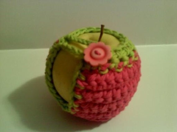 handmade crocheted apple cozy apple jacket fruit cozy in pink and lime green