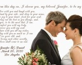 Custom, Personalized Wedding Vows Photo Canvas with your photo and word choice, 20x30