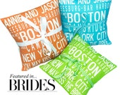 CUSTOM Ring-bearer's, bridesmaid,  wedding pillows- Featured in BRIDES magazine-You Design it- Your words and color choice.