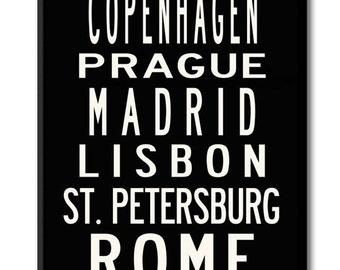 CITIES OF EUROPE, Large 24x60 Gallery-Wrapped Canvas Subway Art