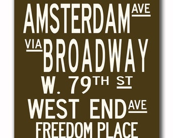 Upper West Side in Vintage Brown and White, Large 24x60 Gallery-Wrapped Canvas Subway Art