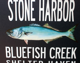 JERSEY SHORE, Stone Harbor, Bluefish, Navy blue Gallery-wrapped Destination Art, 22x42