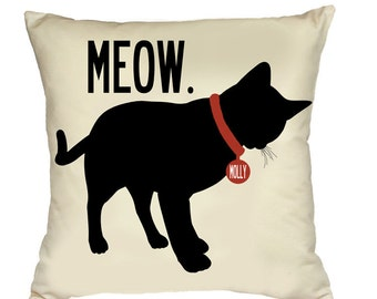 MEOW- SALE-Personalized pillow with your cat's name-Various color choices
