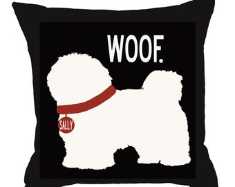 WOOF- SALE-Personalized pillow with your dog's name-BICHON Frise-Eco-friendly 20x20 Pillow-Various color choices