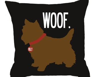 WOOF- SALE-Personalized pillow with your dog's name-YORKIE-Eco-friendly 20x20 Pillow-Various color choices